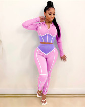 Pink Yoga clothes contrast color tight two-piece sports suit
