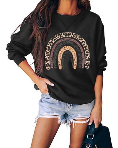 Black Round neck pullover loose long sleeve top
