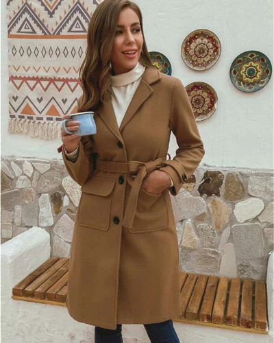 Brown Stylish Turndown Collar Buttons Design  Trench Coat