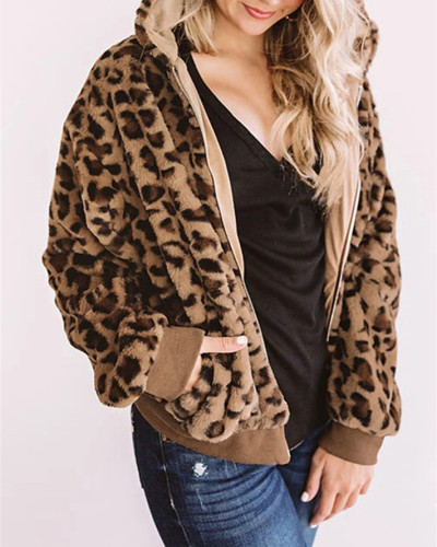 Leopard Printed double-sided fleece hooded loose women