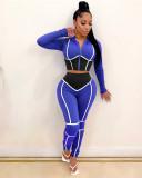 Bule Yoga clothes contrast color tight two-piece sports suit