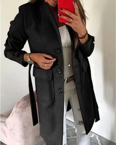 Black Stylish Turndown Collar Buttons Design  Trench Coat