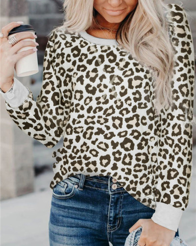 Leopard Long sleeve casual ladies pullover top