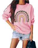 Pink Round neck pullover loose long sleeve top