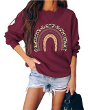 Red Round neck pullover loose long sleeve top