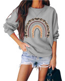 Gray Round neck pullover loose long sleeve top