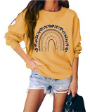 Yellow Round neck pullover loose long sleeve top