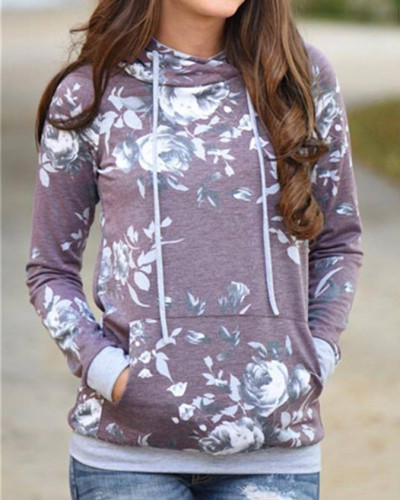Purple Hooded printed slim sweatshirt jacket