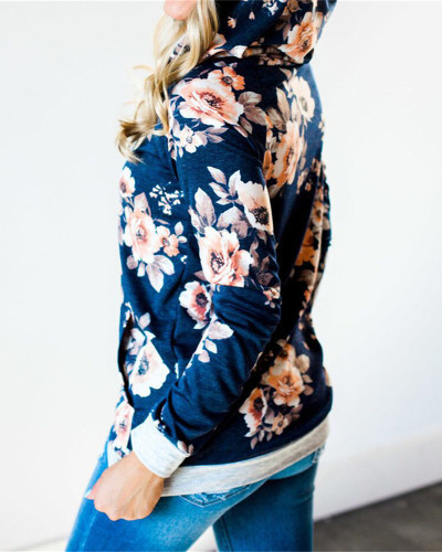 Blue Hooded printed slim sweatshirt jacket