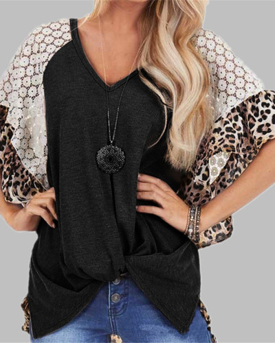 Black Fashion Leopard Lace Raglan Sleeve Knotted T-Shirt