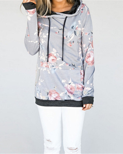 Gray Hooded printed slim sweatshirt jacket