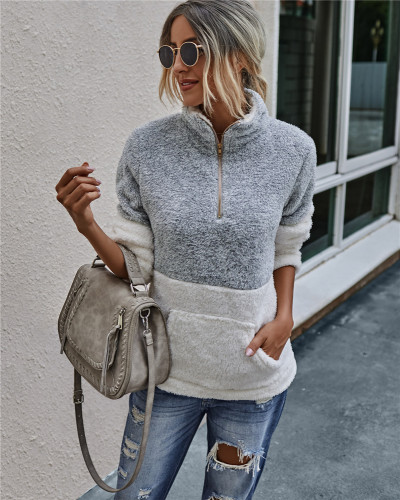 Gray Pocket zipper lapel blouse plush sweater