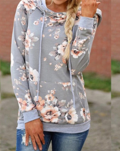 Light Gray Hooded printed slim sweatshirt jacket