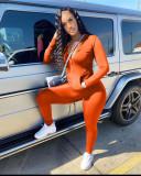Orange Casual Turndown Collar Zipper Design Two Piece Pants Set