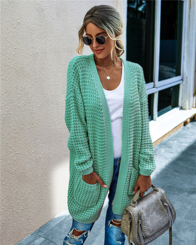 Green Knit sweater long cardigan long coat