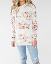 White Hooded printed slim sweatshirt jacket