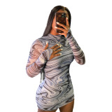 Gray Long Sleeve Wrapped Hips Digital Print Round Neck Dress