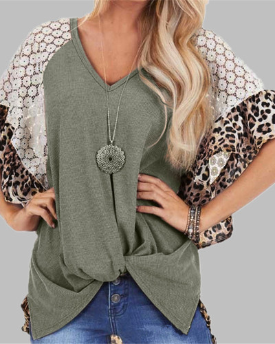 Green Fashion Leopard Lace Raglan Sleeve Knotted T-Shirt
