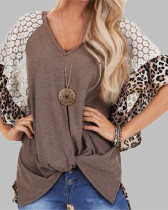 Brown Fashion Leopard Lace Raglan Sleeve Knotted T-Shirt