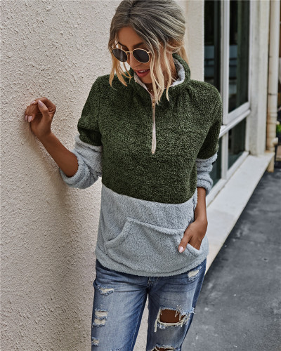 Green Pocket zipper lapel blouse plush sweater