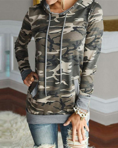 Camouflage Hooded printed slim sweatshirt jacket