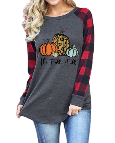 Printed round neck raglan long sleeve t-shirt
