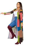 Color Printed long trench coat