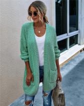 Green Knit sweater long cardigan long coat