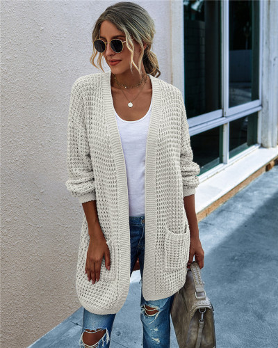 White Knit sweater long cardigan long coat