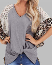 Gray Fashion Leopard Lace Raglan Sleeve Knotted T-Shirt
