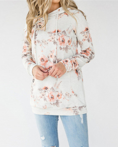 White Hooded printed slim sweatshirt jacket