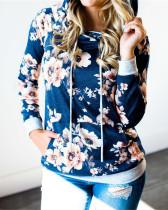 Blue Hooded printed slim sweatshirt jacket