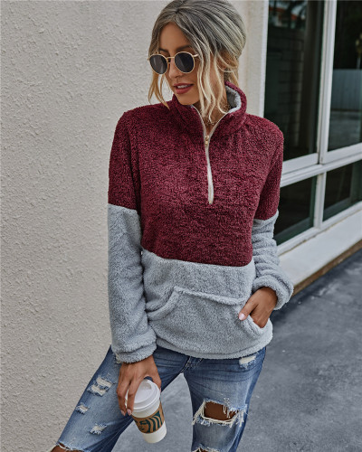 Red Pocket zipper lapel blouse plush sweater