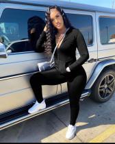 Black Casual Turndown Collar Zipper Design Two Piece Pants Set