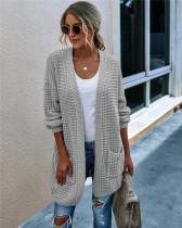 Gray Knit sweater long cardigan long coat