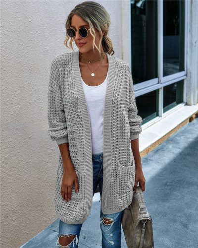 Gray Knit sweater long cardigan long coat