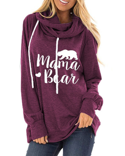 Purple Letter print loose round neck long sleeve t-shirt