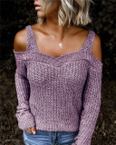 Purple Sling strapless sweater solid color casual long-sleeved sweater