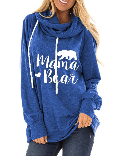 Blue Letter print loose round neck long sleeve t-shirt