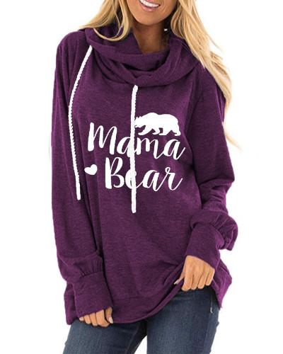 Dark Purple Letter print loose round neck long sleeve t-shirt