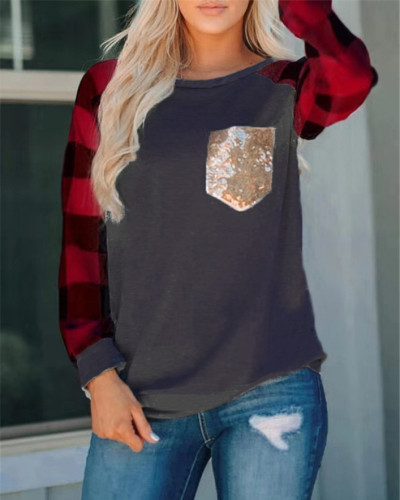 Red Dark Gray Stitched sequin pocket round neck long sleeve t-shirt