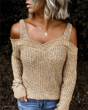Khaki Sling strapless sweater solid color casual long-sleeved sweater
