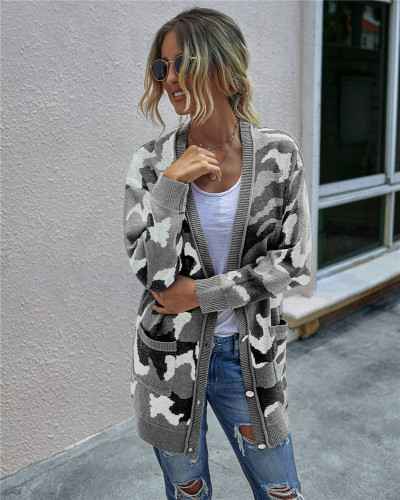 Gray Mid-length knitted cardigan for women
