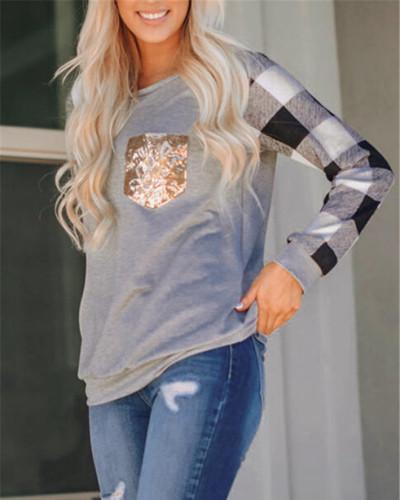 Black Light Gray Stitched sequin pocket round neck long sleeve t-shirt