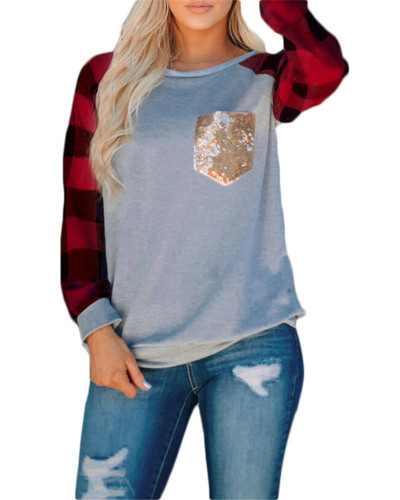 Red Light Gray Stitched sequin pocket round neck long sleeve t-shirt