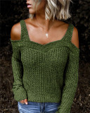 Green Sling strapless sweater solid color casual long-sleeved sweater