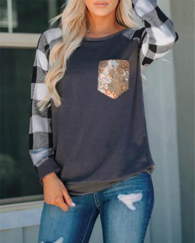 Black Drak Gray Stitched sequin pocket round neck long sleeve t-shirt