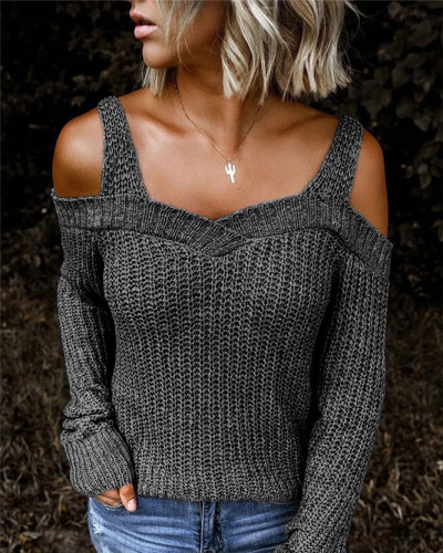 Dark Gray Sling strapless sweater solid color casual long-sleeved sweater