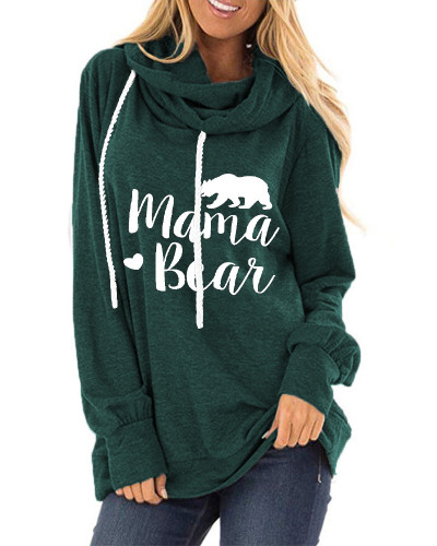 Green Letter print loose round neck long sleeve t-shirt