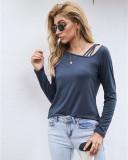 Blue Off-the-shoulder T-shirt